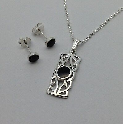 £46.99 • Buy Whitby Jet And Silver Pendant And Earring Set. Handmade In Whitby  JS 050