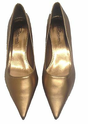 Ladies Womens Pointy Toe Bronze Court Low Heel Party Shoes Wedding Formal Size • 8.99£