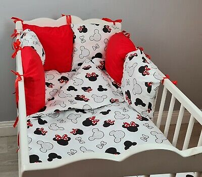 £32.99 • Buy 8 Pc Cot /cot Bed Bedding Sets PILLOW BUMPER + CASES Mickey Red Black White