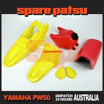 AU121.99 • Buy Yamaha Pw50 Peewee 50 Plastics Fender Cover(YELLOW)+Fuel Tank(RED)+Seat(RED)