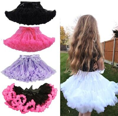 Children's Kids Tutu Fluffy Dance Ballet Cute Lilac Black Petticoat 7-9 Years Uk • 8.50£