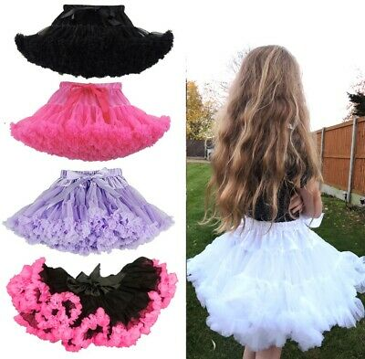 Children's Kids Tutu Fluffy Dance Ballet Cute Lilac Black Petticoat 7-9 Years Uk • 6.99£