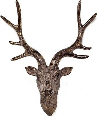 42cm Wall Mounted STAG HEAD DEER ANTLERS Wall Plaque Decoration Sculpture Figure • 29.95£