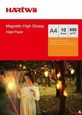 £9.99 • Buy Hartwii 10 Sheets A4 650Gsm Magnet High Glossy Photo Paper Inkjet Paper Printing