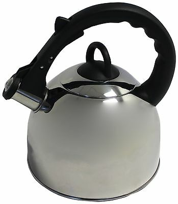 Stainless Steel Whistling Kettle Stove Top Gas Hob Caravan Camping 2 Litre  • 13.99£