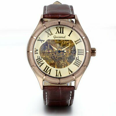 £16.79 • Buy New Luxury Mechanical Automatic Skeleton Mens Sport Leather Wrist Watch Brown