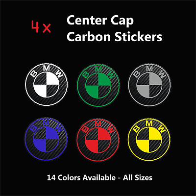 £8.95 • Buy 4x BMW Badge Logo Carbon Center Caps Alloy Rim Wheel Hub Stickers Decal All Size