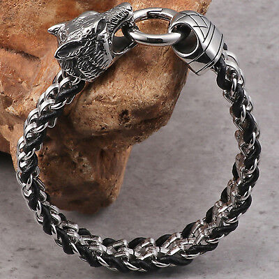 £14.01 • Buy Men's Stainless Steel And Leather Tribal Wolf Bold And Masculine Biker Bracelet