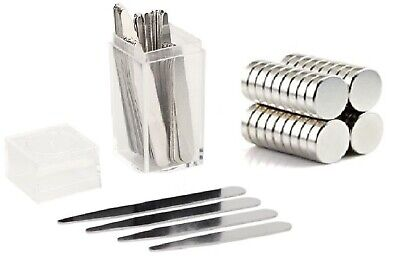 $11.95 • Buy 40 Metal Collar Stays + 10 Magnets For Men Shirt 4 Various Sizes In Plastic Box