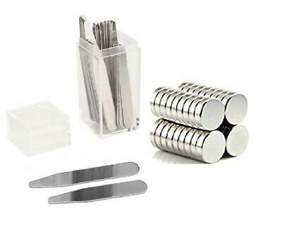 $8.95 • Buy 20 Metal Collar Stays 2.5  + 10 Magnets For Men Shirts In Clear Plastic Box