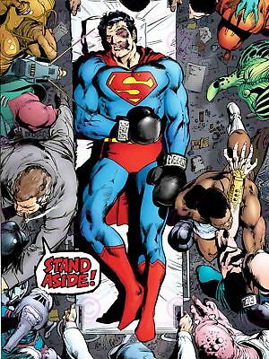 Comic Book Character Superman Boxing Knock Out Injured Canvas Art Print • 16.50£