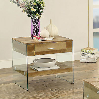 $182.31 • Buy Rhiannon Acrylic Panel End Table Contemporary Style - Natural Tone