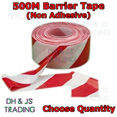£7.95 • Buy Red & White Hazard Warning Tape - Non Adhesive Barrier Tape 72mm X 500m Rolls