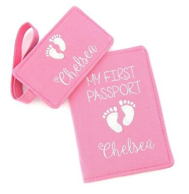 AU40 • Buy Personalised Pink Girls Baby Feet My First Passport AND Luggage Tag SET