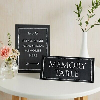 £7.99 • Buy Black Share Your Memories & Memory Table 2 Sign Set For Funeral Condolence Book