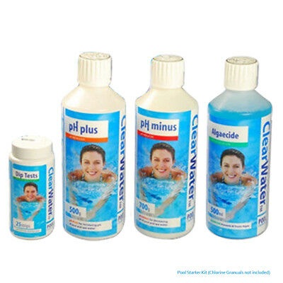ClearWater Pool Starter Kit Hot Water Treatment Algaecide PH Minus Plus Chemical • 140.95£