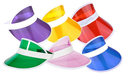 PK OF 6 NEON GOLF, SUN VISOR PUB GOLF 80s, DISCO, POKER, HEN, STAG, FANCY DRESS • 10.50£