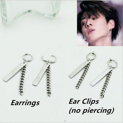 Kpop Jungkook Fake Love Yourself Chain Silver Earrings Punk Ear Stud Clips  • 3.99£