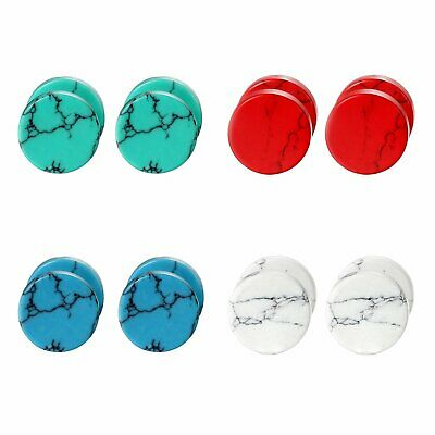 Immitation Marble Stud Earrings Cheater Fake Ear Plugs Illusion Tunnel Gift 2pcs • 7.49£