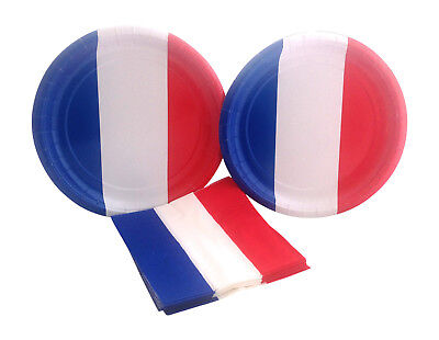 £5.79 • Buy  4th July Red White Blue French Flag France Party Dinner Plates Napkins For 16