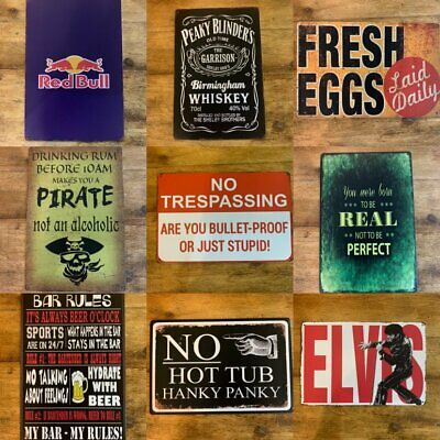 Metal Sign Vintage Retro Drink Kitchen Bar Motor 1950's From £2.95 NEW TITLES • 5.25£