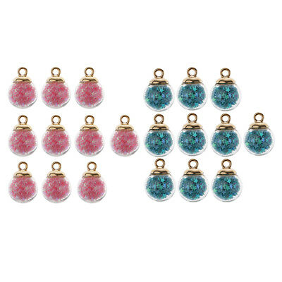 20pcs Glitter Star Glass Ball Charms Pendant For Jewelry Making Craft 16mm • 3.83£