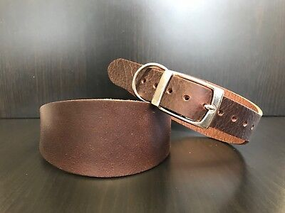 Heavy Duty BROWN Real Leather Dog Collar Greyhound Lurcher Whippet Saluki LARGE • 12.99£