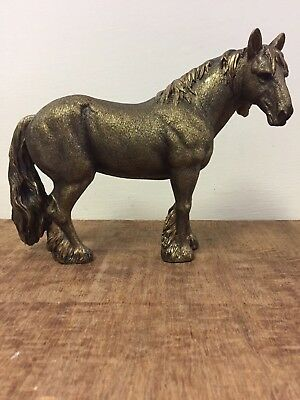 Bronzed Colour Clydesdale Shire Horse Statue Gift Figurine Ornament BNIB • 24.99£