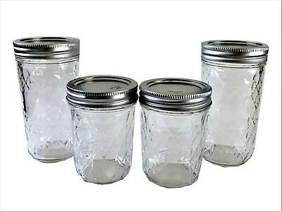 Ball Mason Jelly Jars 2-12 Oz., 2-8 Oz Quilted Crystal Regular Mouth-Set Of 4 • 8.85$