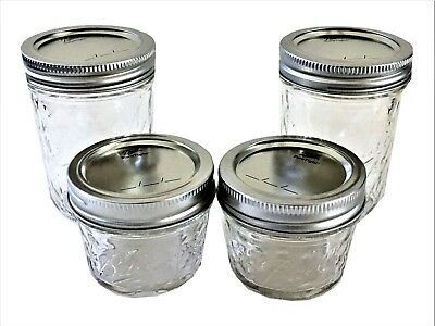 $7.85 • Buy Ball Mason Jelly Jars 2-8 Oz., 2-4 Oz Quilted Crystal Regular Mouth-Set Of 4