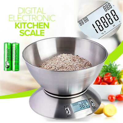 5kg Electronic Digital Stainless Steel Mixing Bowl Food Kitchen Scales UK • 13.99£