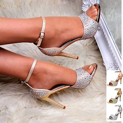 £20.63 • Buy Womens High Heel Diamante Sandals Ankle Strap Open Toe Shoes Evening Party Size