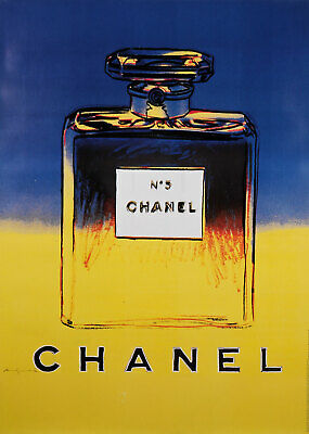 $850 • Buy Original Vintage French Poster For Chanel 5 By Andy Warhol - Blue/Yellow Version