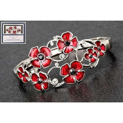 Equilibrium Silver Plated Oval Random Poppy And Diamante Bracelet Boxed 279402 • 13.95£