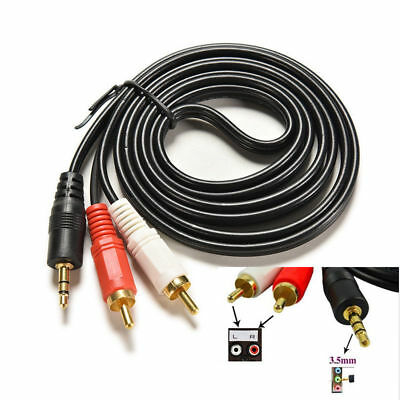 1.5M 3.5mm Mini Headphone Male Jack Stereo To 2 RCA Phono Plugs Cable AUX Lead • 2.89£
