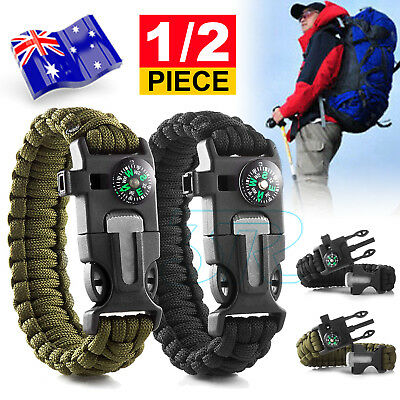 AU6.85 • Buy Deluxe Paracord Survival Bracelet Compass Fire Camping Whistle Hiking Army Gear