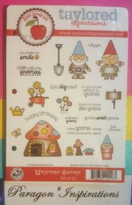 RARE Taylored Expressions WELCOME GNOME Stamp Set I Dig You Mushrooms Flowers • 34.95$