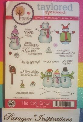 Taylored Expressions THE COOL CROWD Warm Winter Wishes Snowmen Holiday Snow • 34.95$
