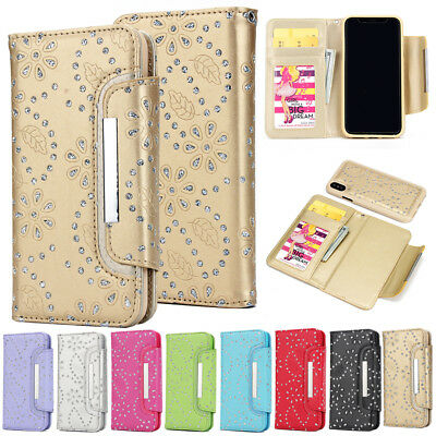 AU24.89 • Buy Glitter Sparkly Removable Magnetic Wallet Case For IPhone 11 Pro X 6 7 8 Plus 5S