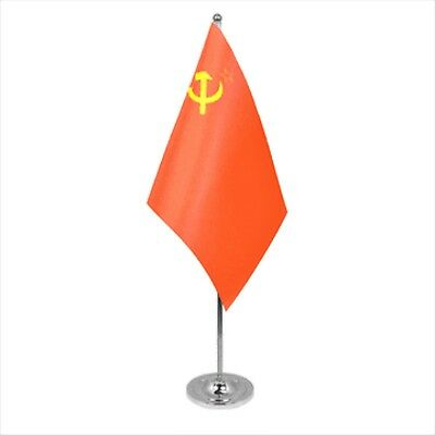 USSR Soviet Union Russia Satin & Chrome Premium Table Flag  • 9£