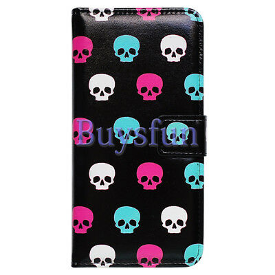 $ CDN12 • Buy Covdo Colorful Skull Black Leather Wallet Cover Case For Samsung Galaxy Note 9