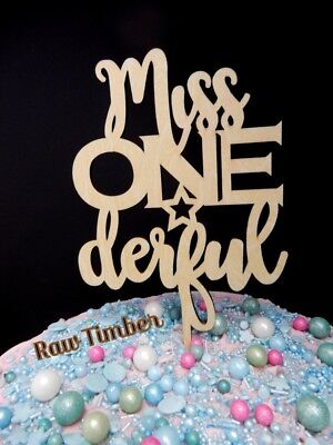 AU10.55 • Buy Miss Onederful Wonderful 1st Birthday Cake Topper Raw Timber First Year Party