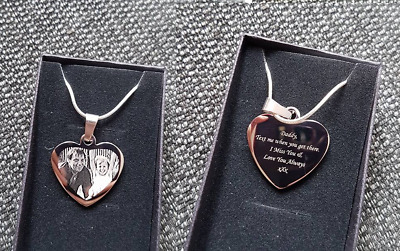 Personalised Photo/Text Engraved Heart Necklace Pendant + ADDED EXTRA'S- See Sub • 13.99£