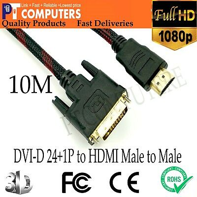 AU30.88 • Buy 10M Premium DVI-D 24+1p To HDMI Cable Male To Male Gold-Plated For PC TV Monitor