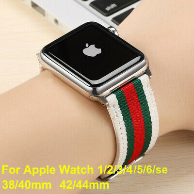 AU16.95 • Buy SALE Apple Watch Woven GU CCI Pattern Leather With Nylon Wrist Band Strap Band
