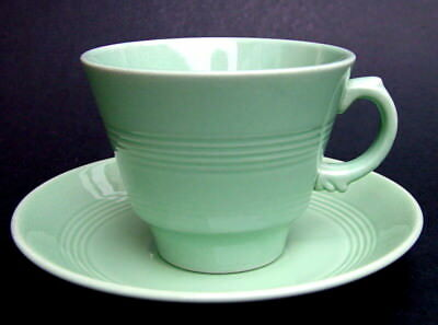 Vintage Wood Woods & Sons Classic Green Beryl Pattern Tea Cups & Saucers In VGC • 4.95£