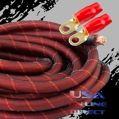 AU64.22 • Buy 0 Gauge 10 Ft RED SNAKESKIN Power OFC Wire Strand Copper Marine Cable 1/0 AWG US