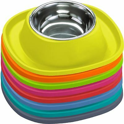 2 X Stainless Steel Cat Dog Food Bowls + Rubber NonSlip Feeding Mats Puppy Dish • 11.70£