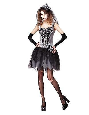 Skeleton Bride Costume For HALLOWEEN - Adult One Size -   FREE POSTAGE • 16.99£