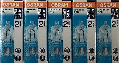 Pack Of 5 Osram 48W = 60W G9 2pin Halopin Halogen Capsule Clear Dimmable Bulb • 12£